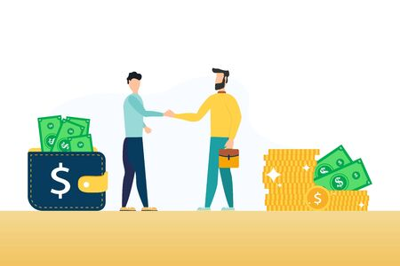 People meeting, partners of business project man and businessman. Wallets filled with banknotes money, cash in purse, financial assets. Vector illustration in flat cartoon style Ilustración de vector