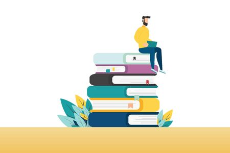 People with books. Man is sitting on a stack of books and reading a book. vector Vettoriali