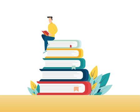 People with books. Man is sitting on a stack of books and reading a book. vector