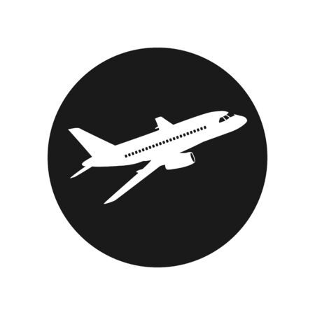 Vector airliner icon. Black and white. Simply change. Vetores
