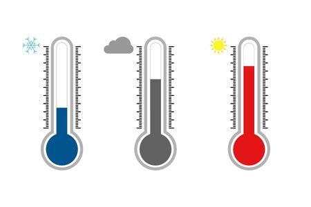 Temperature icon set in flat style. Thermometer symbol isolated. Vector illustration Ilustração Vetorial