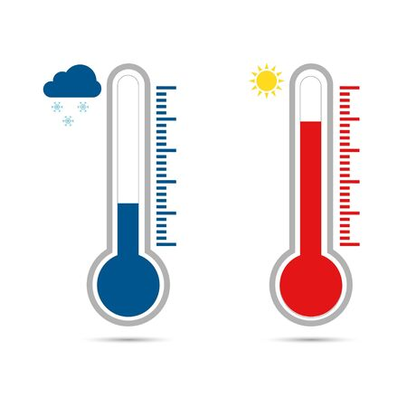 Temperature icon set in flat style. Thermometer symbol isolated. Vector illustration