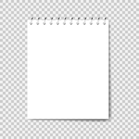 Maquette de cahier. Remarque avec spirale. Cahier de style réaliste. Bloc-notes papier vide. Illustration vectorielle Vecteurs