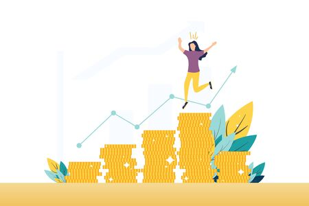 Stock market profit, income flat vector illustration. Happy broker, trader, banker, financier cartoon character. Successful woman standing on coins stack. Business analytics, statistics. Graph growth Vector Illustration