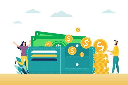Happy man and woman are standing near the wallet with money and credit cards. The concept of family budget and finance. The concept of electronic wallet. Home savings and investments. Modern vector illustration.