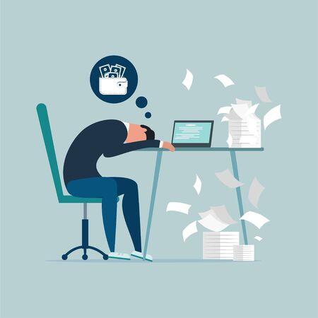 Geldproblem Finanzielle Schwierigkeiten Wohnung Illustration.Professionelles Burnout-Syndrom. Erschöpfter kranker, müder männlicher Manager im Büro trauriges langweiliges Sitzen mit dem Kopf nach unten auf dem Laptop. Frustrierte psychische Gesundheit der Arbeiter