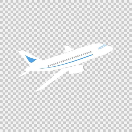 Airplane sign vector icon on a transparent background. Airport airplane illustration. Business concept simple flat pictogram on a white background.