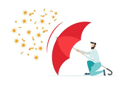 Immune system vector icon. Bacterial health, protection against viruses. Medical prevention of human germs. A healthy person reflects the attack of bacteria with a red umbrella. Increase immunity with medicine concept illustration.