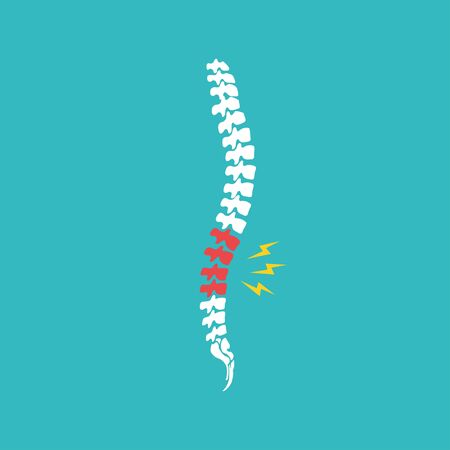 Backache. Back pain vector icon illustration isolated on blue background. Damaged Dorsal Disks