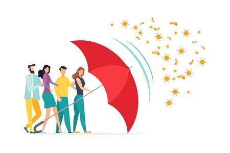 Immune system vector icon. Protection against bacteria health viruses. Healthy men and women stand behind a red umbrella and repel the attack of bacteria with a umbrella. Enhance immunity with medicine concept illustration. Vector Illustration
