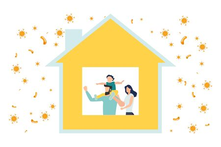 Home quarantine. Crown Virus (Covid 19) campaign to stay home. lifestyle that you can do at home to stay healthy. Vector flat design