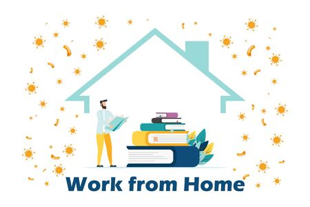 Self isolation concept. Young man working from home during Covid-19. All stay at home. Self-isolate from a pandemic. Remote work from home during Quarantine. Vector flat illustration