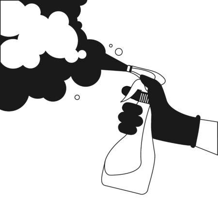 Spraying Anti-Bacterial Sanitizer Spray, Hand Sanitizer Dispenser, infection control concept. Sanitizer to prevent colds, virus, Coronavirus, flu. Spray bottle. Alcohol spray. Flat icon design. Illustration
