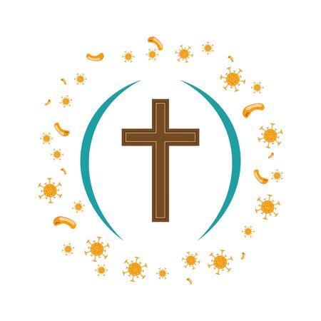 Coronavirus Defense - The Cross of Jesus, The Cross of Jesus repels the attack of the coronavirus. Vector illustration