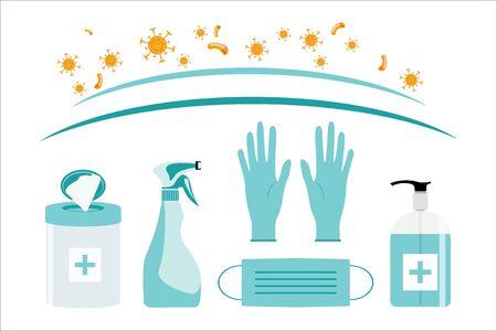 Coronavirus sterilization kit. Medical mask, gloves, antiseptic, wipes, disinfectant spray. Vector illustration