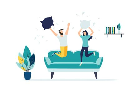 pillow fights. Carefree pillow fight. Flat cartoon. Vector illustration