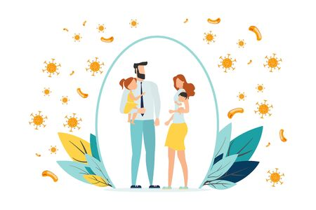 Happy parents with children is protected from viruses and diseases. Good immunity, vaccination and a healthy lifestyle. Family portrait in trendy style. Flat vector illustration