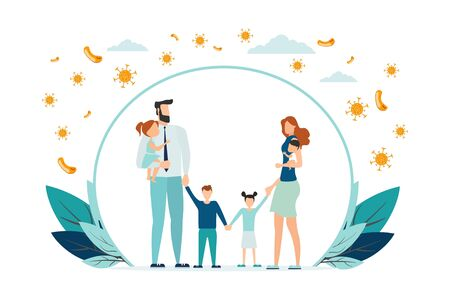 Happy parents with children is protected from viruses and diseases. Good immunity, vaccination and a healthy lifestyle. Family portrait in trendy style. Flat vector illustration Ilustração Vetorial