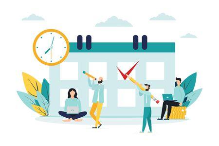 illustration vectorielle. les personnages de petites personnes font un horaire en ligne dans la tablette. conception de tâches graphiques d'entreprise planification sur une semaine - vecteur - illustration vectorielle Vecteurs