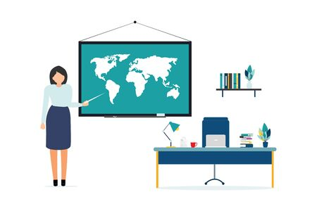 Education vector. people learn, gain knowledge by reading books and the Internet. online composition design for students. The teacher points to the board and gives knowledge. Ilustração
