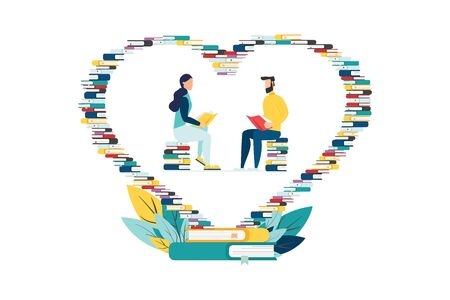 Education vector. people learn, gain knowledge by reading books. Internet design composition for students. Love for books, heart of books. Ilustração