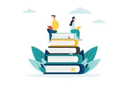 People with books, on books, flat style on a white background, vector