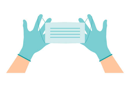 Hands in gloves wear a blue mask. Latex gloves as a symbol of protection against viruses and bacteria. Security icon. Vector illustration flat design. Separately on a white background. Vectores
