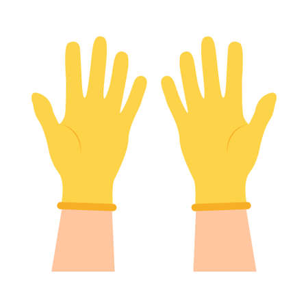 Hands put on protective yellow gloves. Latex gloves as a symbol of protection against viruses and bacteria. Safety icon. Vector illustration flat design. Isolated on a white background.
