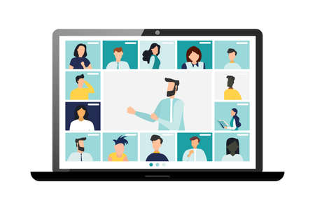 Conference video call, remote project management, quarantine, chat with friends. Vector illustration in a modern style.