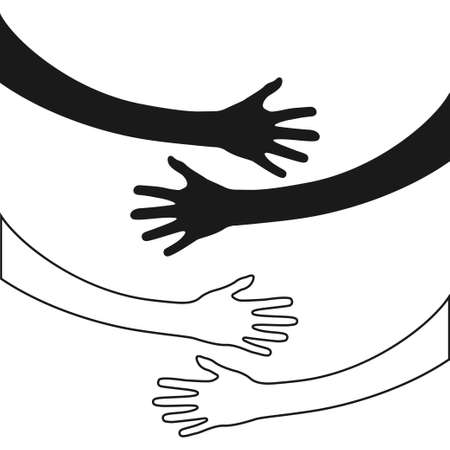 Hugging hands. Arm embrace, belief togetherness unique relationship hugged hands vector isolated concept Vectores