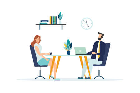Business Meeting Concept. Businessman and Woman Talking on Coffee Break. Colleagues Characters Communicating Brainstorming, Discussion Idea. Vector flat cartoon illustration