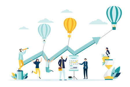 vector illustration a group of people characters are thinking over an idea. prepare a business project start up. rise of the career to success, flat color icons, business analysis Vectores