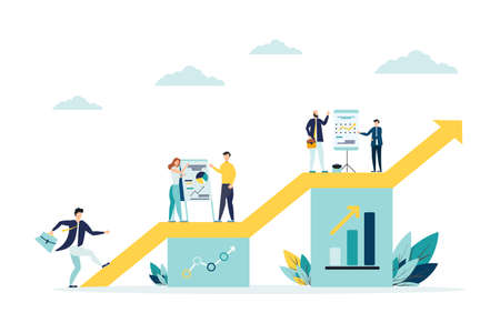 vector illustration a group of people characters are thinking over an idea. prepare a business project start up. rise of the career to success, flat color icons, business analysis Archivio Fotografico - 151077599