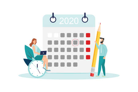 vector illustration. little people characters make an online schedule in the tablet. design business graphics tasks scheduling on a week Vector illustration