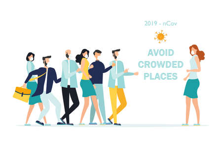 Precautions for coronavirus 2019-nKoV. The call to avoid crowded places. A young girl in a medical mask stands apart from a group of people. The concept of the fight against the new virus COVID-2019