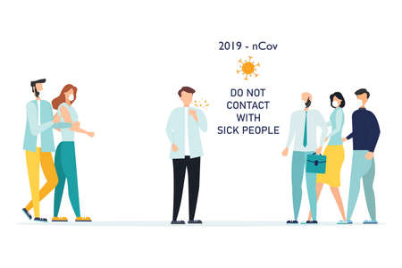 Poster - Do not contact with sick people. People in medical masks avoid coughing person. The concept of the fight against the new coronavirus 2019-nCov Vectores