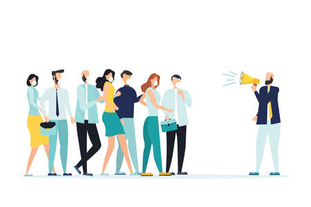 Coronavirus Precautions 2019-nCoV. The call to avoid crowded places. A young man in a medical mask stands apart from a group of people. The concept of the fight against the new virus COVID-2019 Vectores