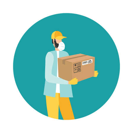 Courier in a medical mask delivers the package during quarantine. Safe Delivery Concept with Social Distance Vectores