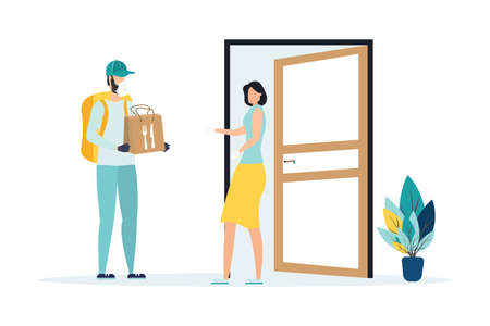 Safe food delivery. isolation due to the COVID-2019 coronavirus. The courier leaves the parcel at the door Vectores