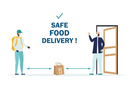 Safe food delivery. isolation due to the COVID-2019 coronavirus. The courier leaves the parcel at the door Banque d'images - 151090655