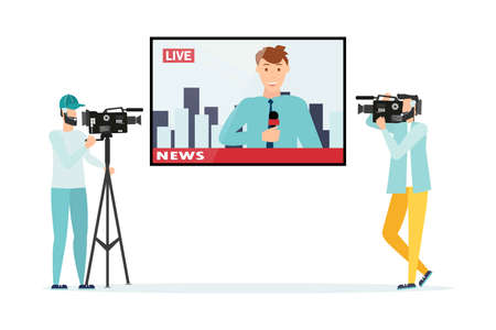 News. The television operator is shooting news.