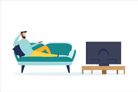 People watching the news, on a white background, vector illustration Banque d'images - 151090742