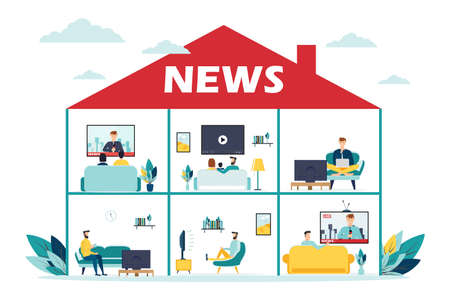 News concept with team people and page design. vector illustration Vectores