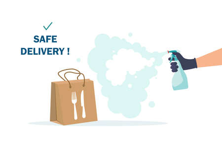 Safe food delivery. isolation due to the COVID-2019 coronavirus. The courier leaves the parcel at the door Banque d'images - 151090794