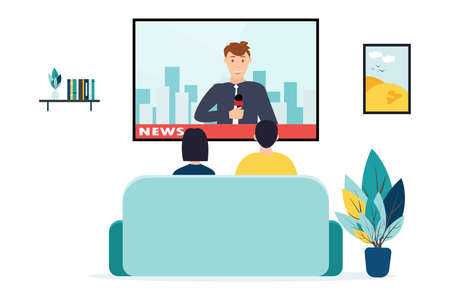 People watching the news, on a white background, vector illustration