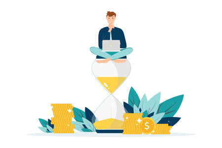 Happy man in formal suit sitting on an hourglass and working on laptop business process icon. Multitasking, productivity and time management concept. Flat vector.