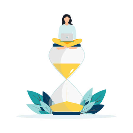 Happy woman sitting on an hourglass and working on her laptop business process icons and infographics on background. Multitasking, productivity and time management concept. Flat vector illustration 일러스트