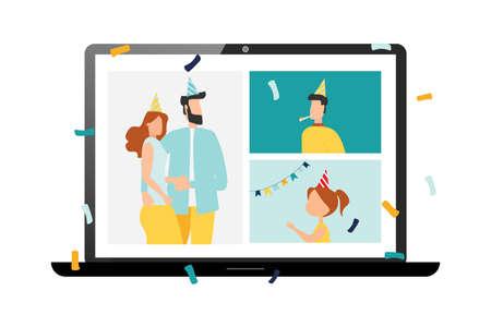 happy birthday quarantine, online party. Vector illustration.