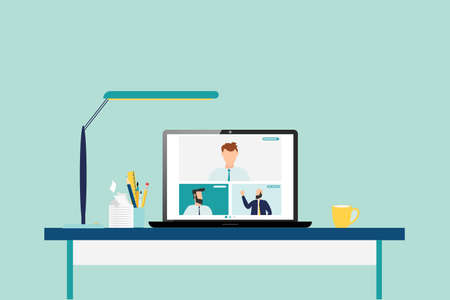 people connecting together, learning or meeting online with teleconference, video conference remote working on laptop computer, work from home and work from anywhere concept, flat vector illustration 일러스트