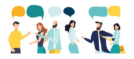 Vector illustration, flat style, people talk. People with thoughts on a white background, vector 일러스트